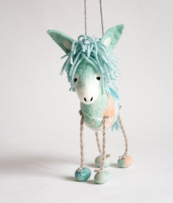 Felted toy - Dennis - Marionette. Felt Donkey birthday baby shower gift nursery decor Felt Animals Puppet plush animal stuffed toy. mint #felttoys