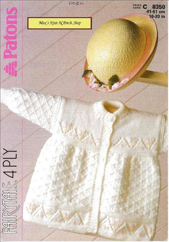 Vintage PDF Baby Knitting Pattern - Patons 8350 - cardigan Instant ...
