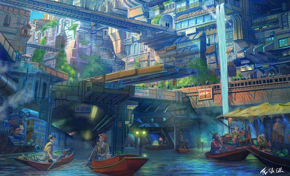 Anime City City Market Anime Concept Art Illustrations