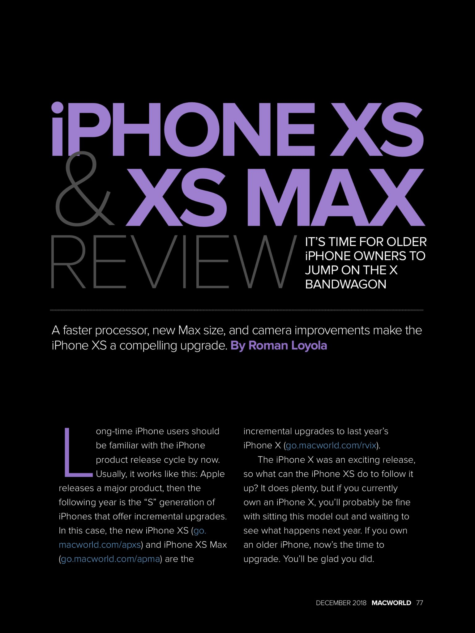 """""""iPhone XS and iPhone XS Max review"""" from Macworld"""
