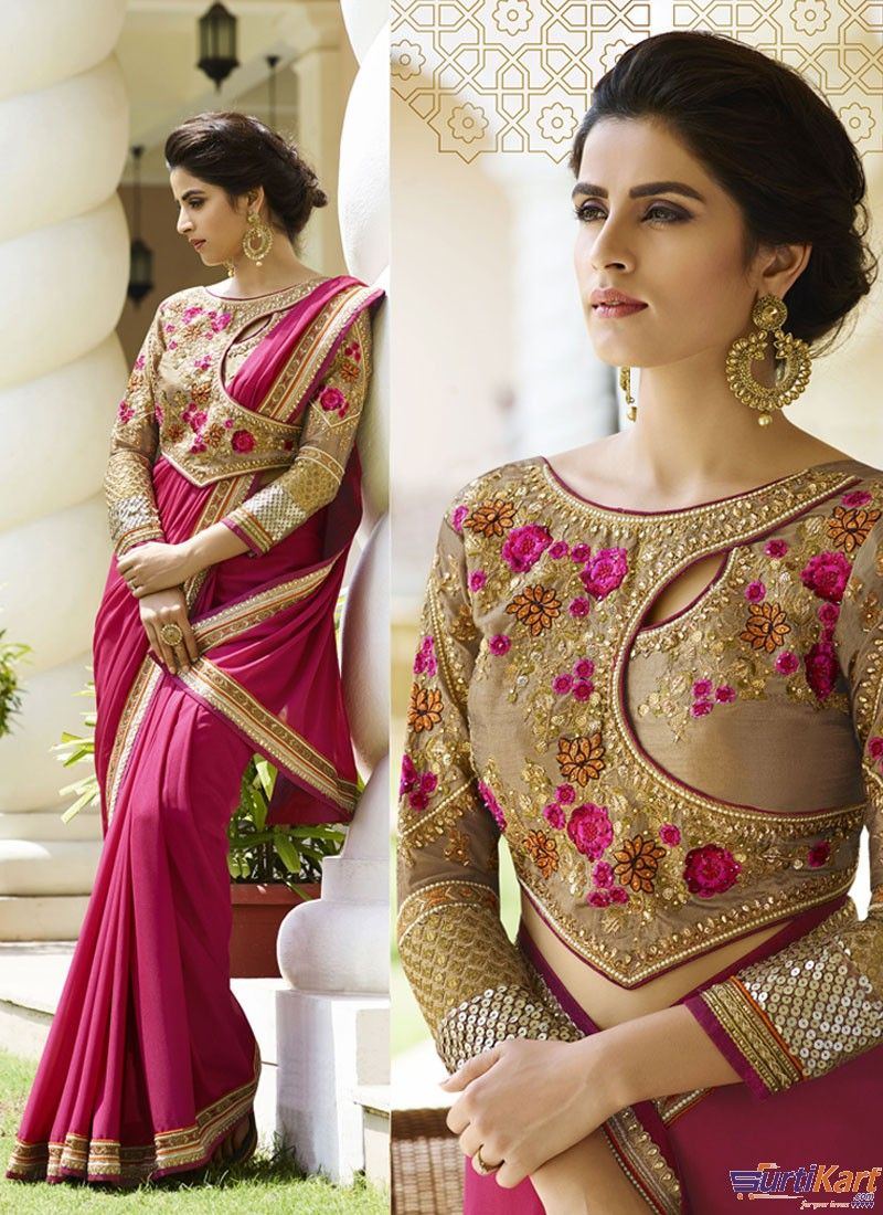 e8e447442c9e19 Pink Colour Silk Crepe Resham Embroidery Lace Saree With Designer Heavy  Zari   Stone Work Blouse by Vritika
