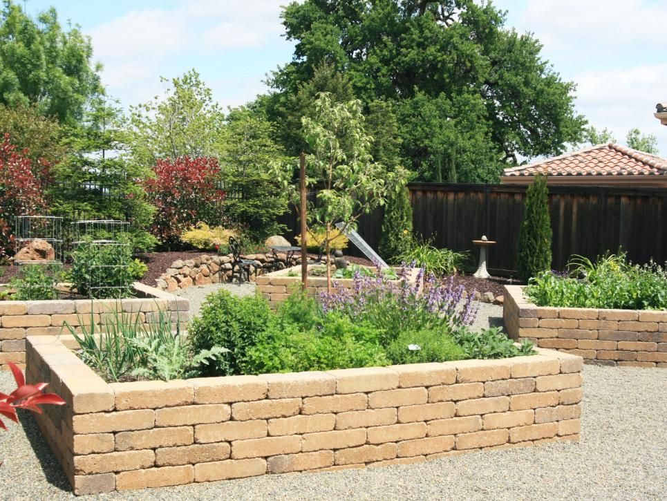 Brick Pavers Form This Series Raised Garden Beds Creating 400 x 300