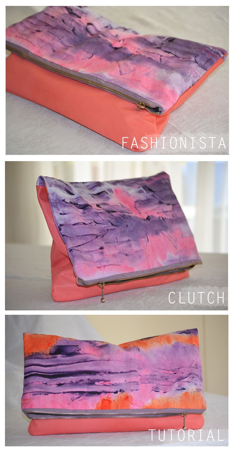 DIY: colorblocked oversized zippered clutch.  Note: the tutorial is for the clutch design, not the fabric.  Upcycling ideas: fabric stash scraps. Unwearable clothing. Upholstery samples. Damaged textiles.