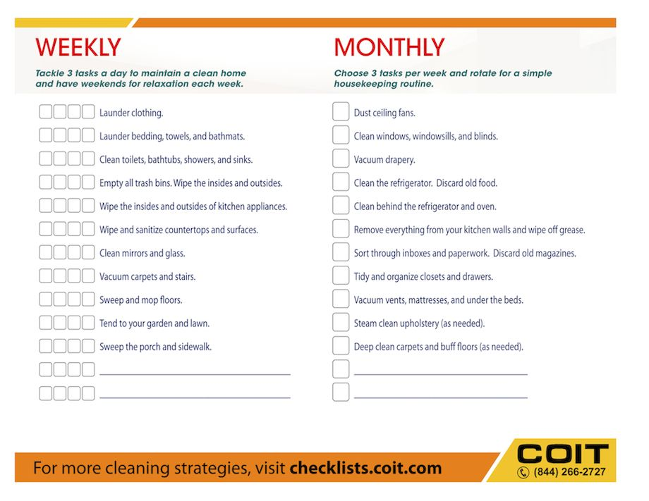 weekly and monthly house cleaning checklist if i ever get someone to