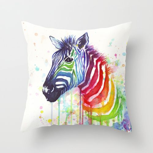 Rainbow Zebra Watercolor Painting | Ode to Fruit Stripes Throw Pillow