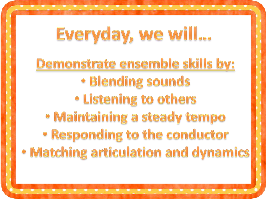 Standards Based Posters For Beginning Band Secondary