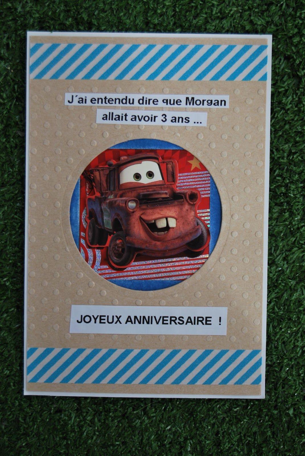 Carte d'anniversaire garçon Cars originale facile