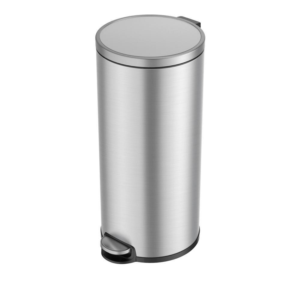EKO Eva Stainless Steel 30 Liter/7.9 Gallon Round Step Trash ...