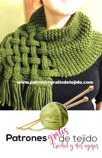 Cómo tejer cuello abrigado con dos agujas | Crochet y Dos Agujas ...