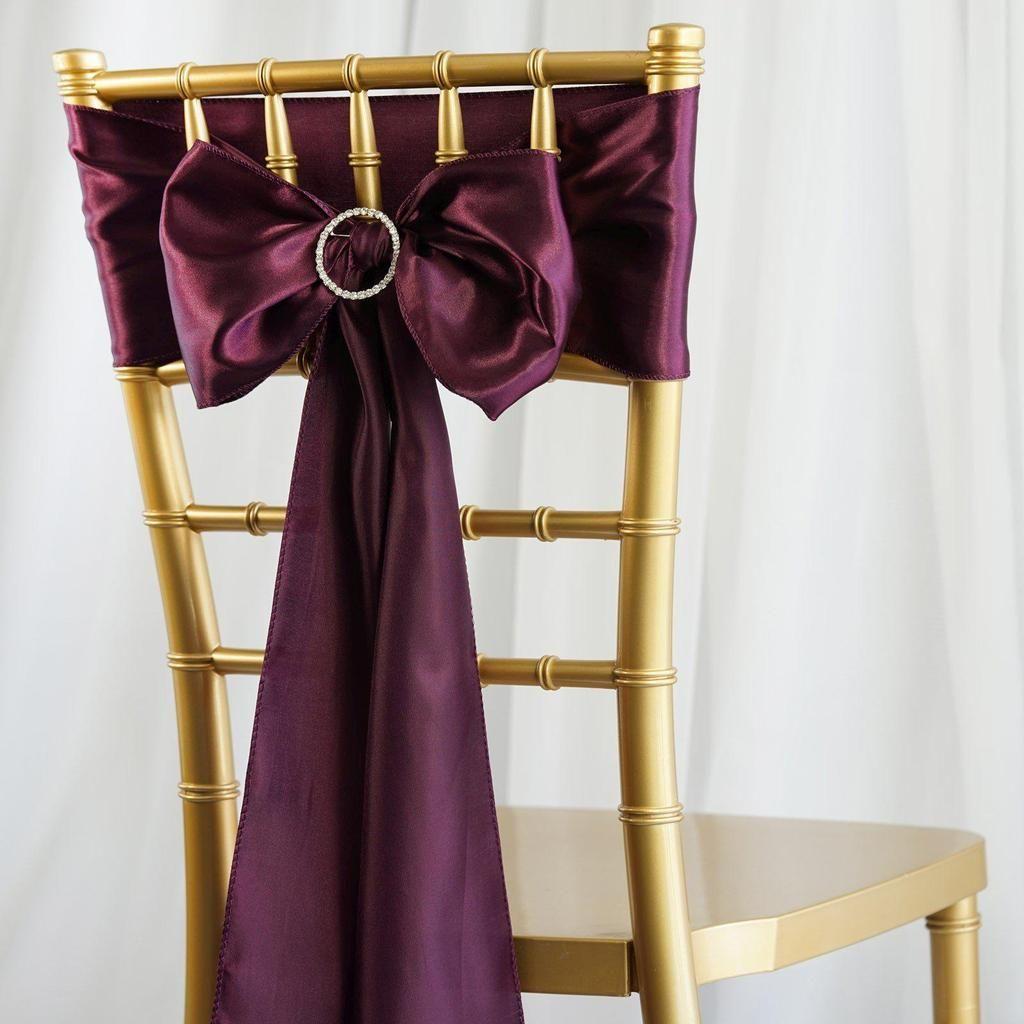 5 Pack 6 X106 Eggplant Satin Chair Sash Chair Sashes Chair Sash Small Chair For Bedroom