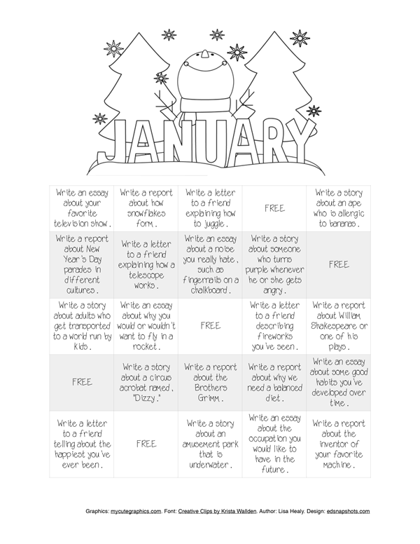 Monthly Writing Bingo And Reading Log Plus New Email Options