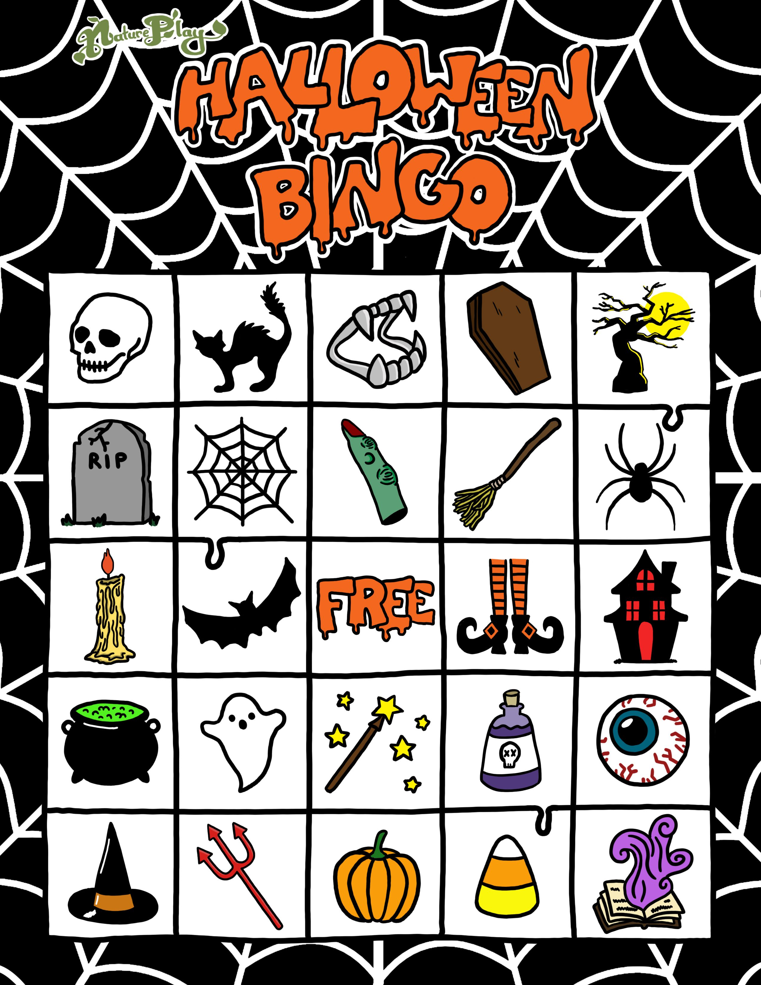 Natureplays Free Printable Spooky Halloween Bingo Set
