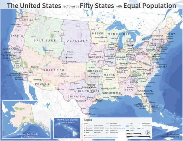 The US Map Redrawn as 50 States With Equal Population 50 states - new world map by population