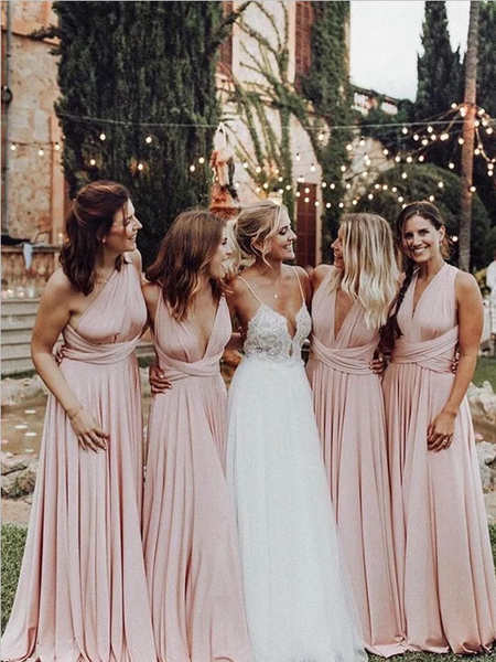Pretty Mismatched A Line Lace Up Floor Length Long Bridesmaid Dresses, SW1068 Pretty Mismatched A Line Lace Up Floor Length Long Bridesmaid Dresses, SW1068 is part of Blush pink bridesmaid dresses - Pretty Mismatched A Line Lace Up Floor Length Long Bridesmaid Dresses, SW1068 This dress could be custom made, there are no extra cost to do custom size and color  Lace up back or zipper back are all available  Description of dress1, Materialjersey2, Color picture color or other colors, there are many colors avail