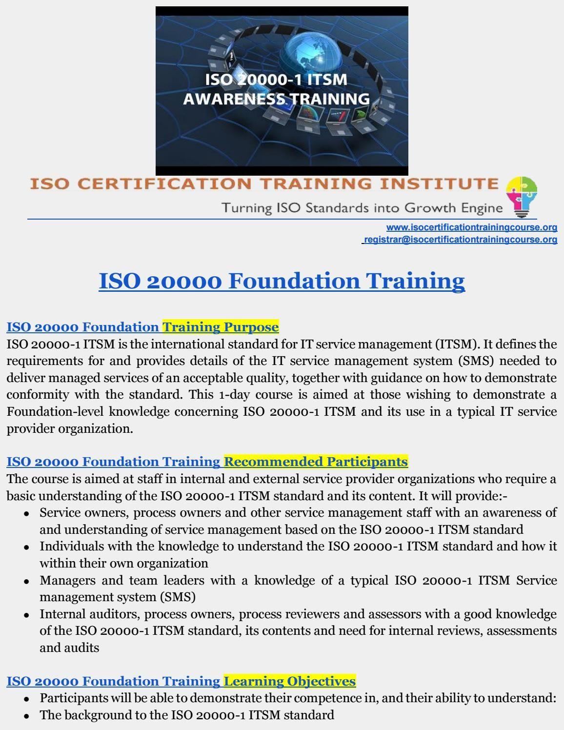 Itsm Training Iso Training Institute Pinterest Foundation And