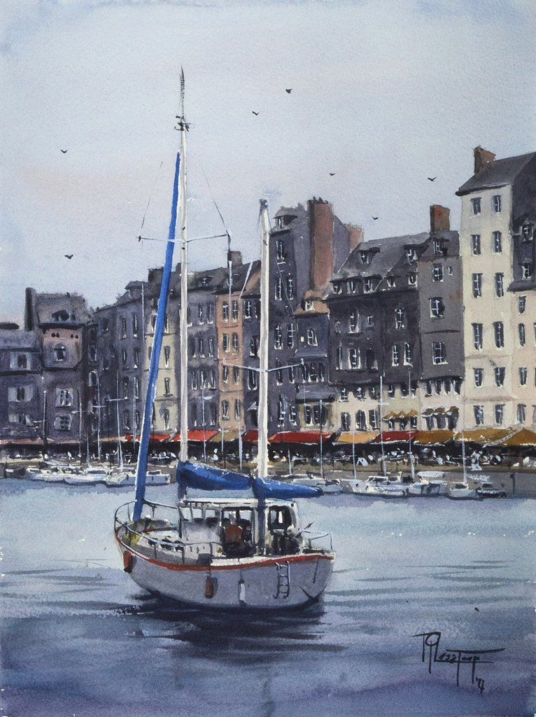 Le Vieux Bassin In Honfleur Boat Painting Watercolor Paintings