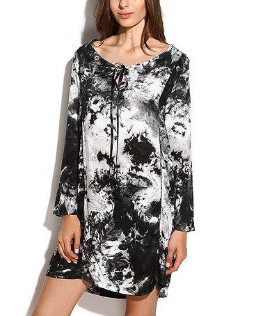 This Black & White Tie-Dye Scoop Neck Tunic is perfect! #zulilyfinds