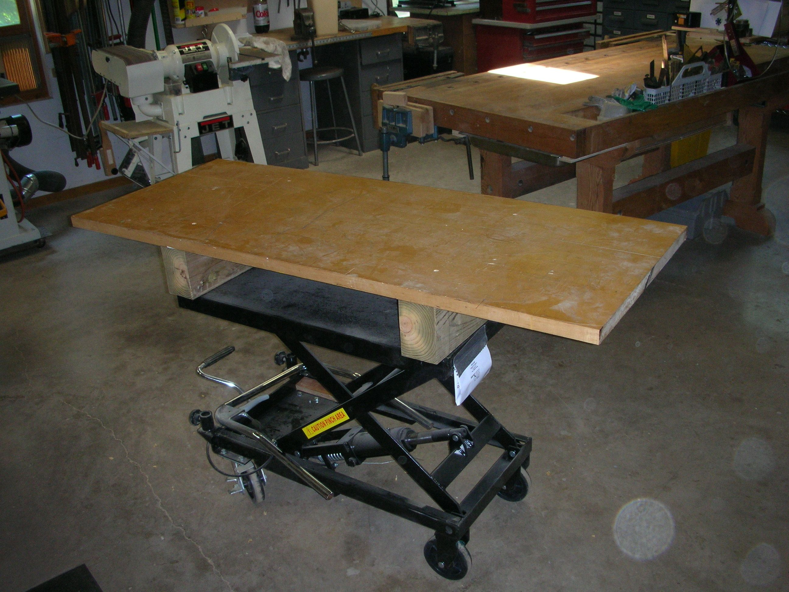 Diy Work Table Scissor Jack Adjule Height Made From Harbor Freight Motorcycle