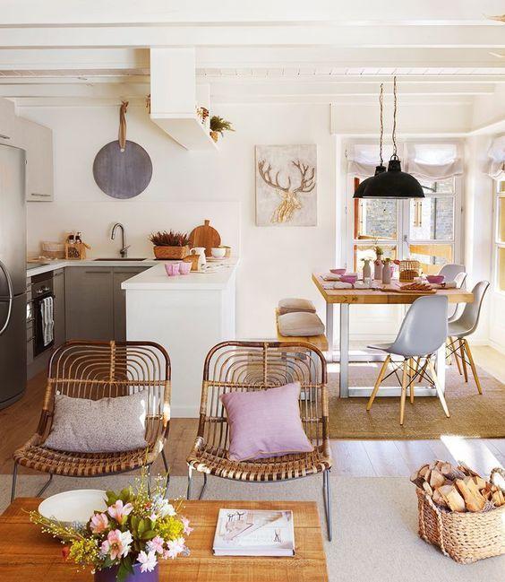 Decoración de comedor y sala juntos en espacio pequeño, casas ...