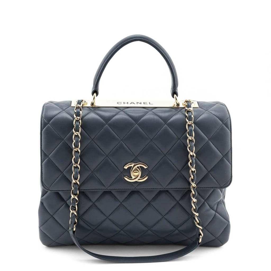 Chanel Blue Quilted Lambskin Large Cc Trendy Ghw Shop Chanel Canada In 2020 Chanel Bag Lambskin Shopping Chanel