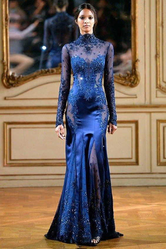 Zuhair Murad Blue Wedding Dress With Long Sleeves /  Http://www.himisspuff.com/blue Wedding Dresses/8/