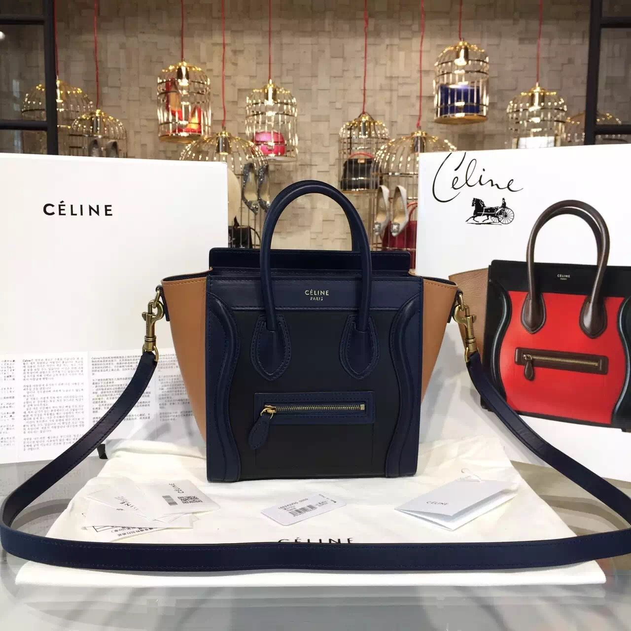 0f82868a1eaa Celine Tricolor Nano Luggage in Original Smooth Calfskin Black Deep  Blue Brown