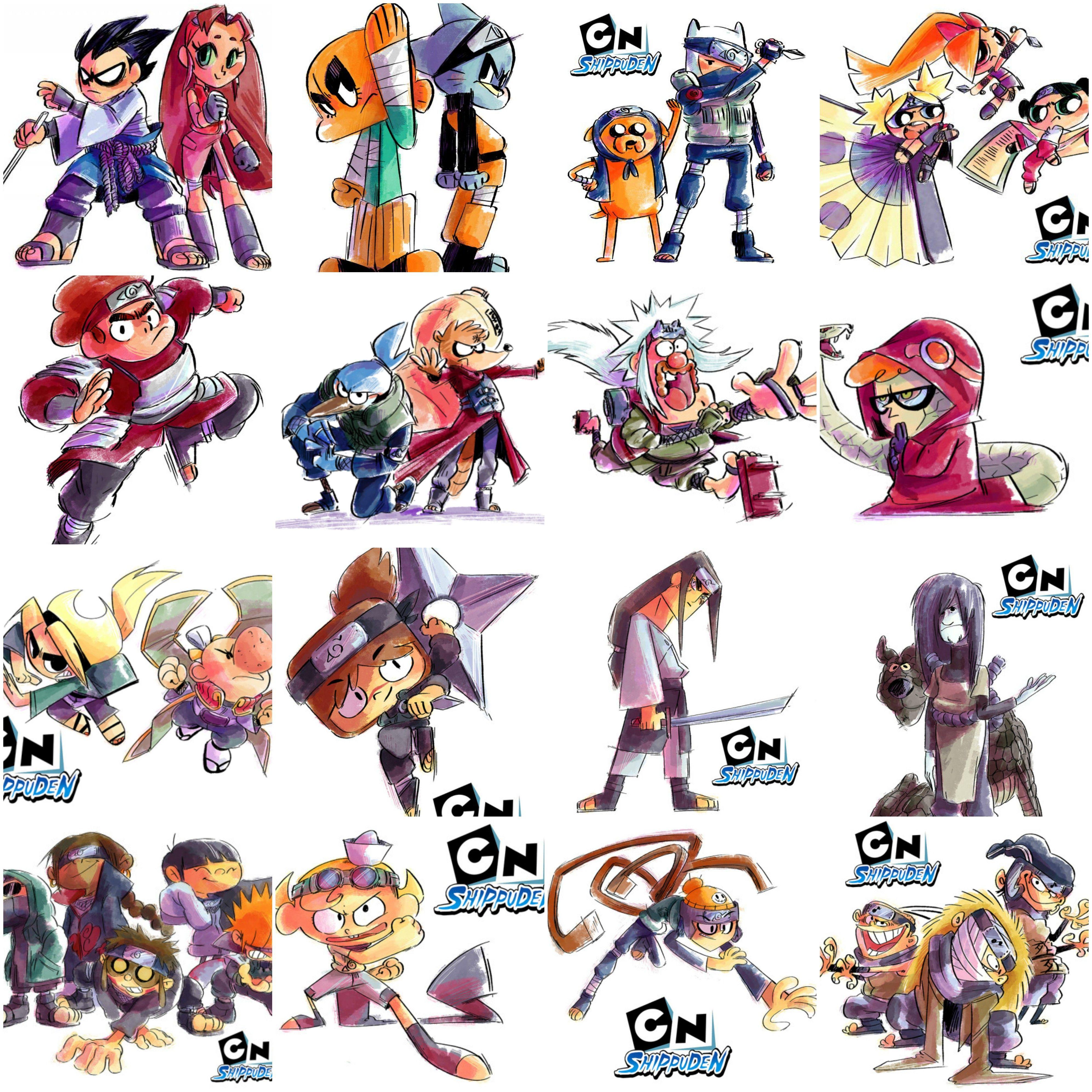 Cartoon Network Characters As Naruto Shippuden Arte Com Desenhos Animados Esbocos Da Arte Desenhos Animados