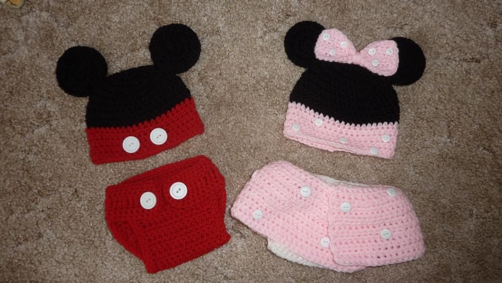 Mickey Minnie Crochet Hat And Diaper Cover Hooked Pinterest