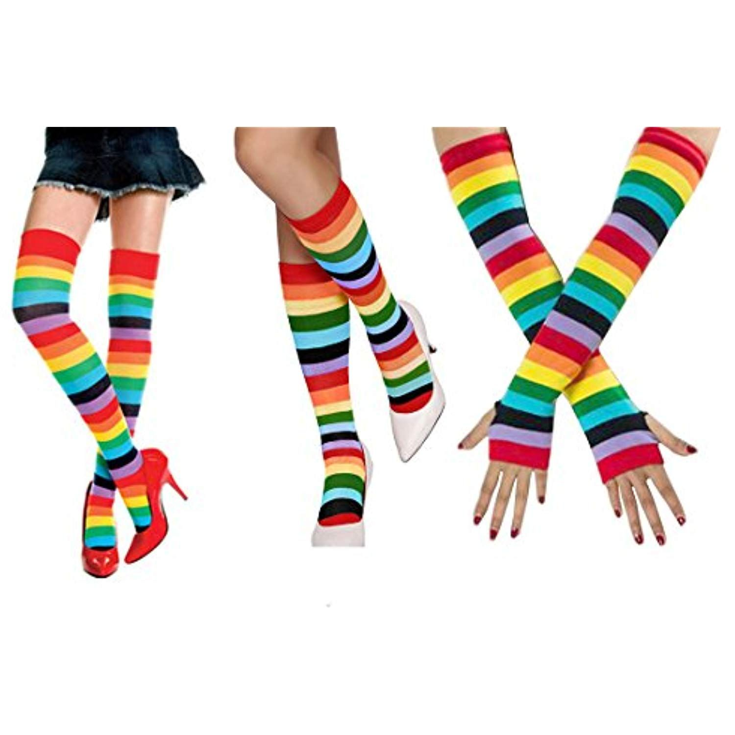 fe0d639b7cd35 3PCS Womens Rainbow Stripe Knee High Socks Thigh High Stockings Long Gloves  >>> Check this awesome product by going to the link at the i…
