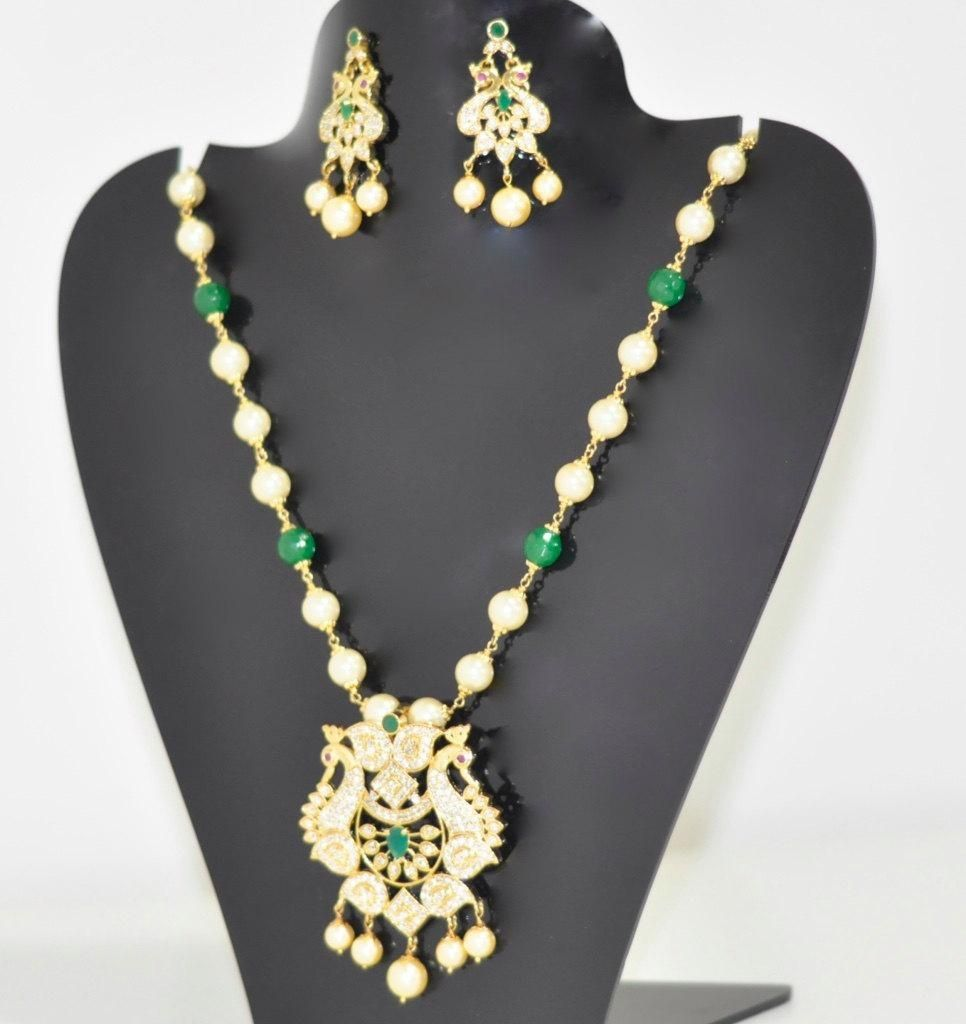 Sale 25 discount south sea pearls green bead necklace set with sale discount south sea pearls green bead necklace set with ruby emerald cz stones pendant and earrings indian bollywood jewelry mozeypictures Gallery
