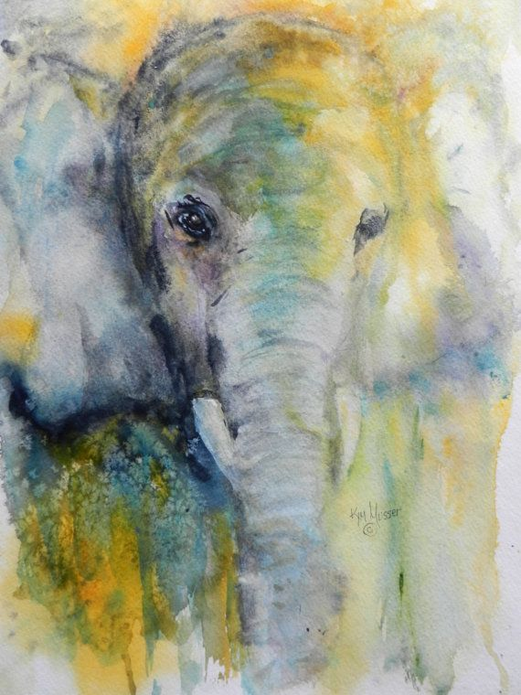 Abstract Elephant Original Kim Musser by PaintingsWatercolor, $125.00