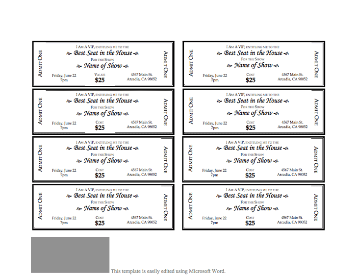 Free Event Ticket Template Doc Pdf 1 Page S Event Ticket Template Ticket Template Ticket Template Free