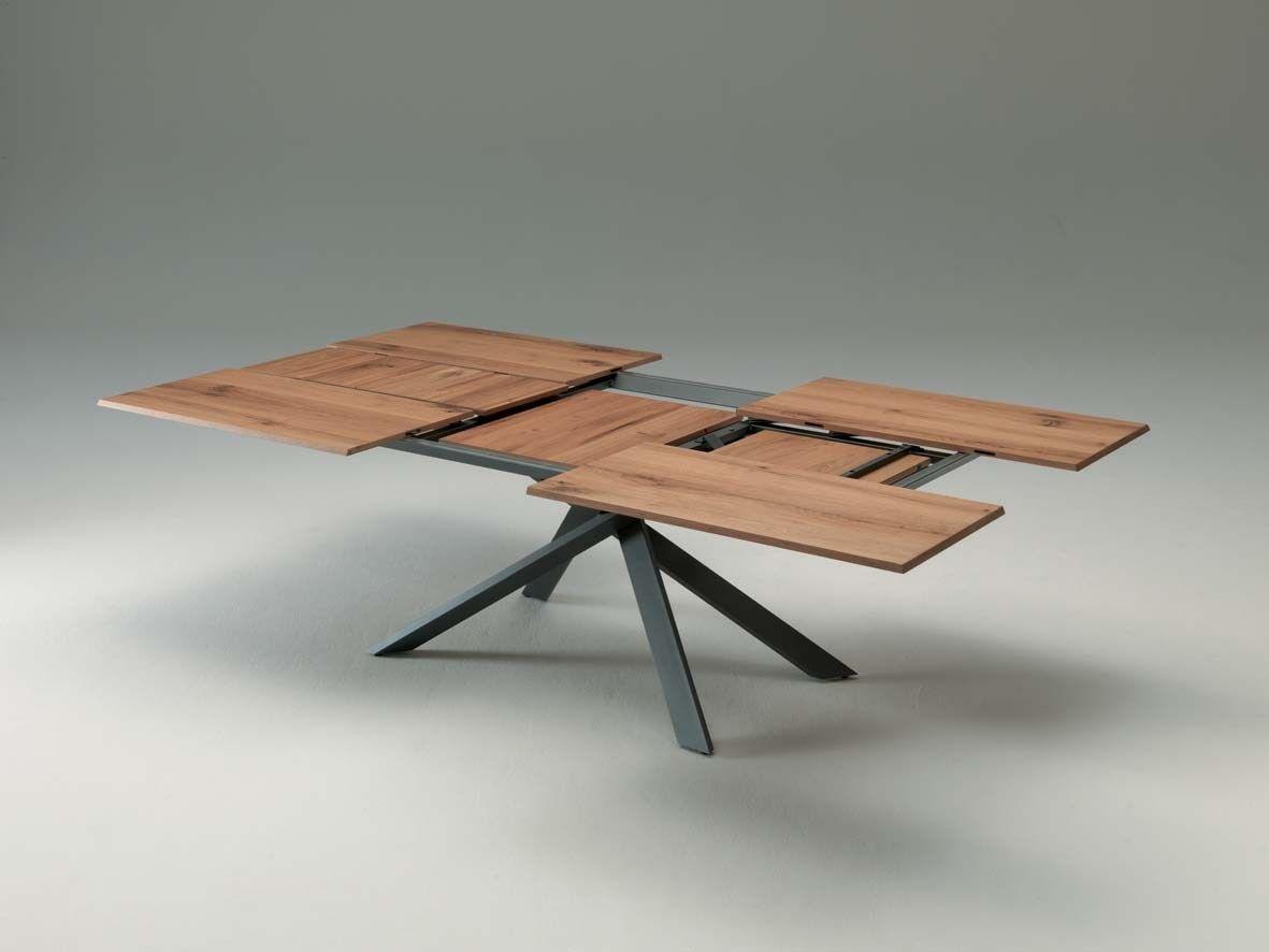 Table extensible rectangulaire en bois 4X4 by Ozzio Italia design Giulio Manzoni
