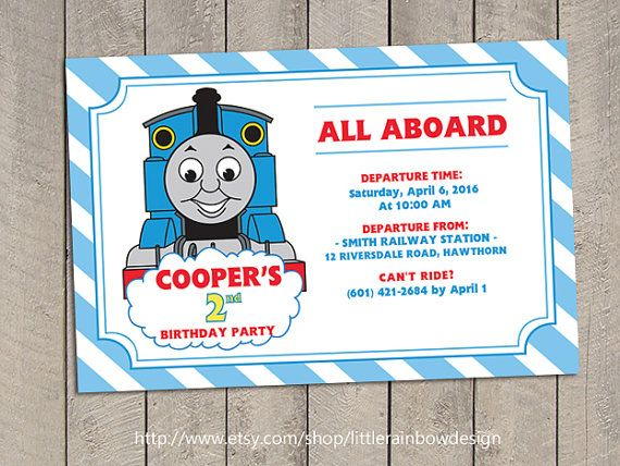 Thomas Train Invitation Thomas Invitation by LittleRainbowDesign