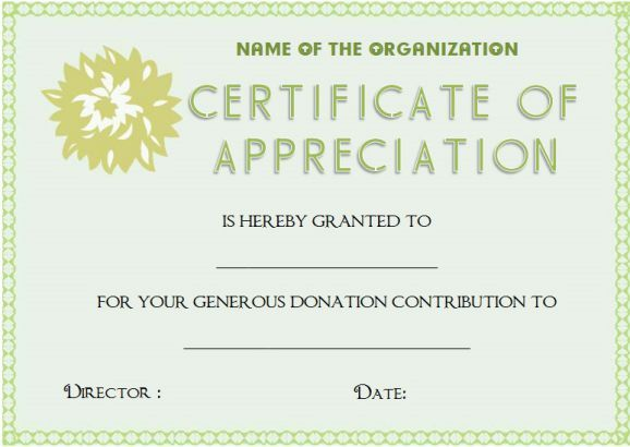 Certificate Of Appreciation For Donation Template Donation - certificate of appreciation examples