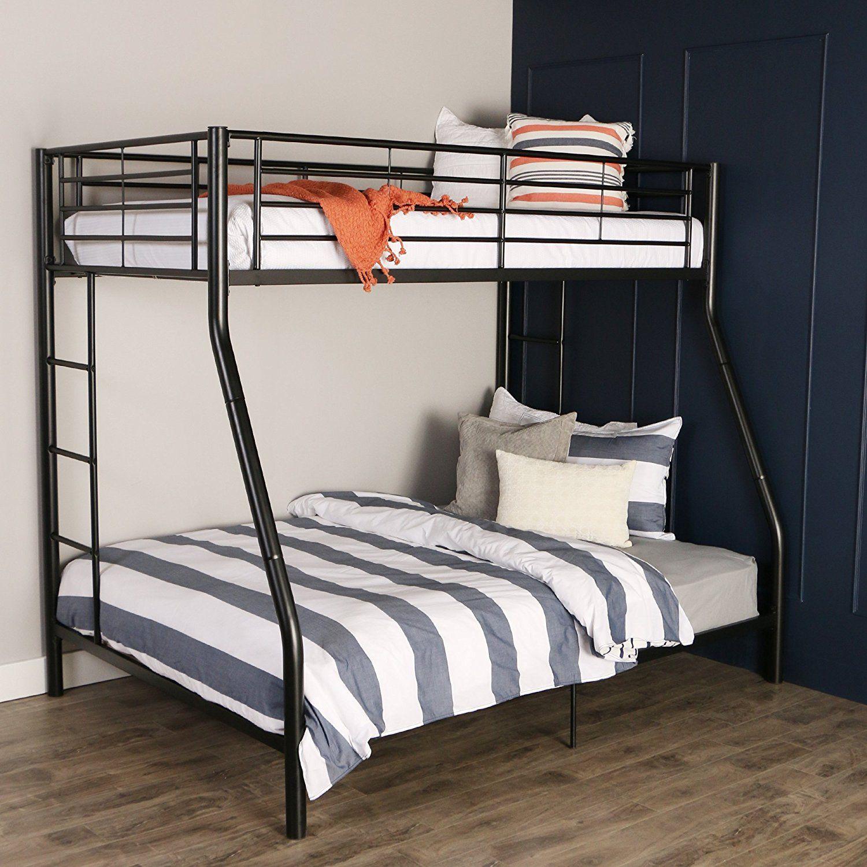 Walker Edison TwinOverFull Metal Bunk Bed, Black