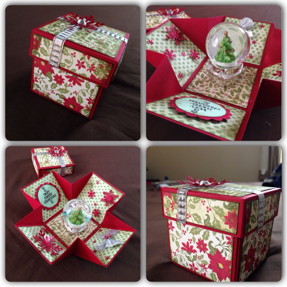 Christmas explosion box red green | My craft | Pinterest ...