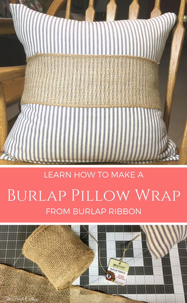 Make this easy nosew burlap pillow wrap from burlap ribbon burlap