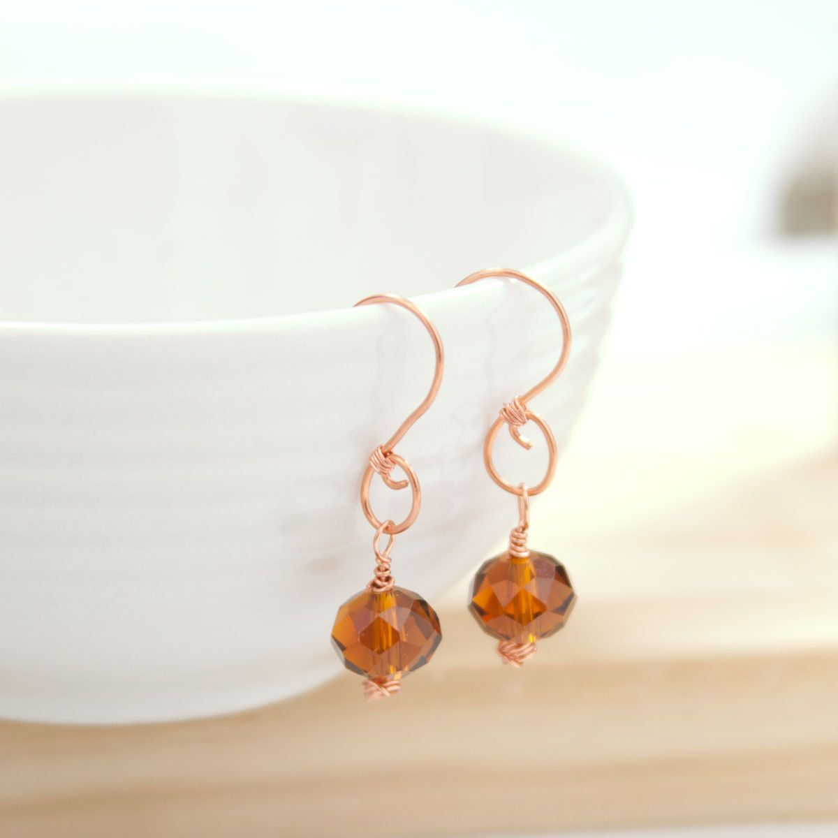 Rust Colored Crystal Earrings on Handmade Swirl Shaped Copper Wire ...