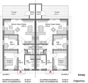 Grundriss doppelhaus ebenerdig Bauplan haus, Grundriss