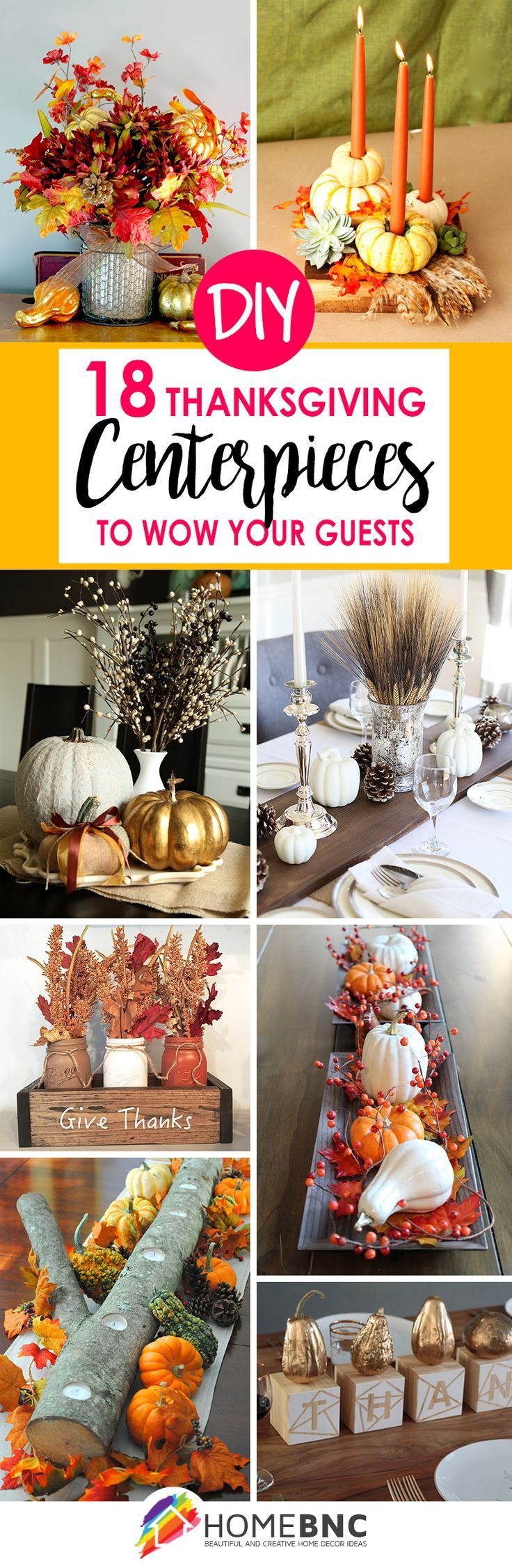 Good Diy Thanksgiving Decorations Part - 10: 18 Easy DIY Thanksgiving Centerpieces To Wow Your Guests | Thanksgiving  Centerpieces, Gourds And Thanksgiving