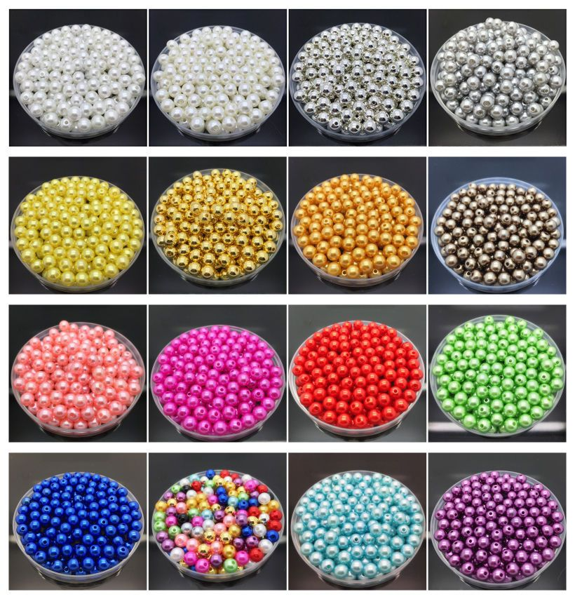 100pcs 6mm 8mm AB Spacer Bead Acrylic Loose Beads Kid Jewelry DIY Accessories