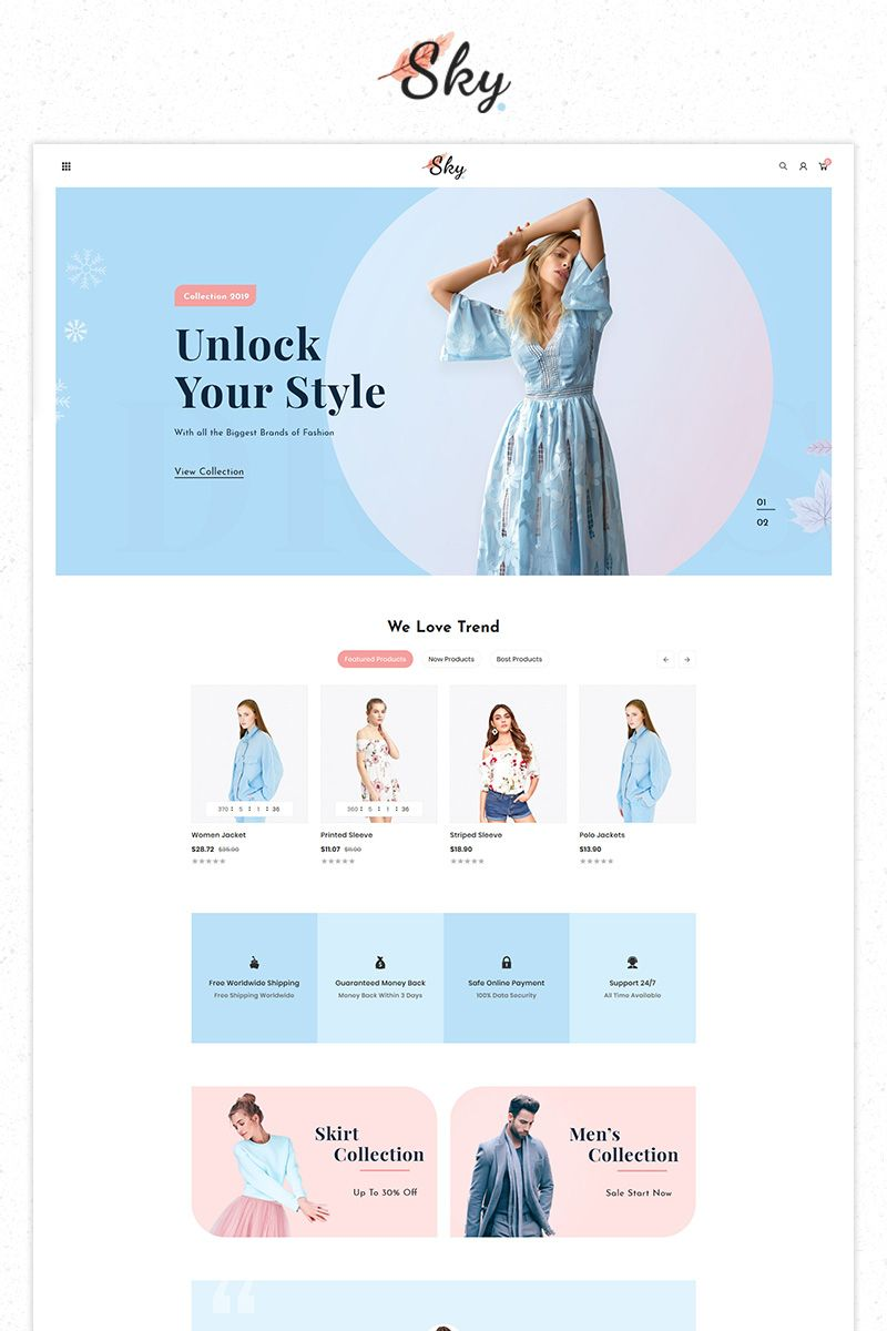 Sky Fashion Store Premium PrestaShop Theme #84518
