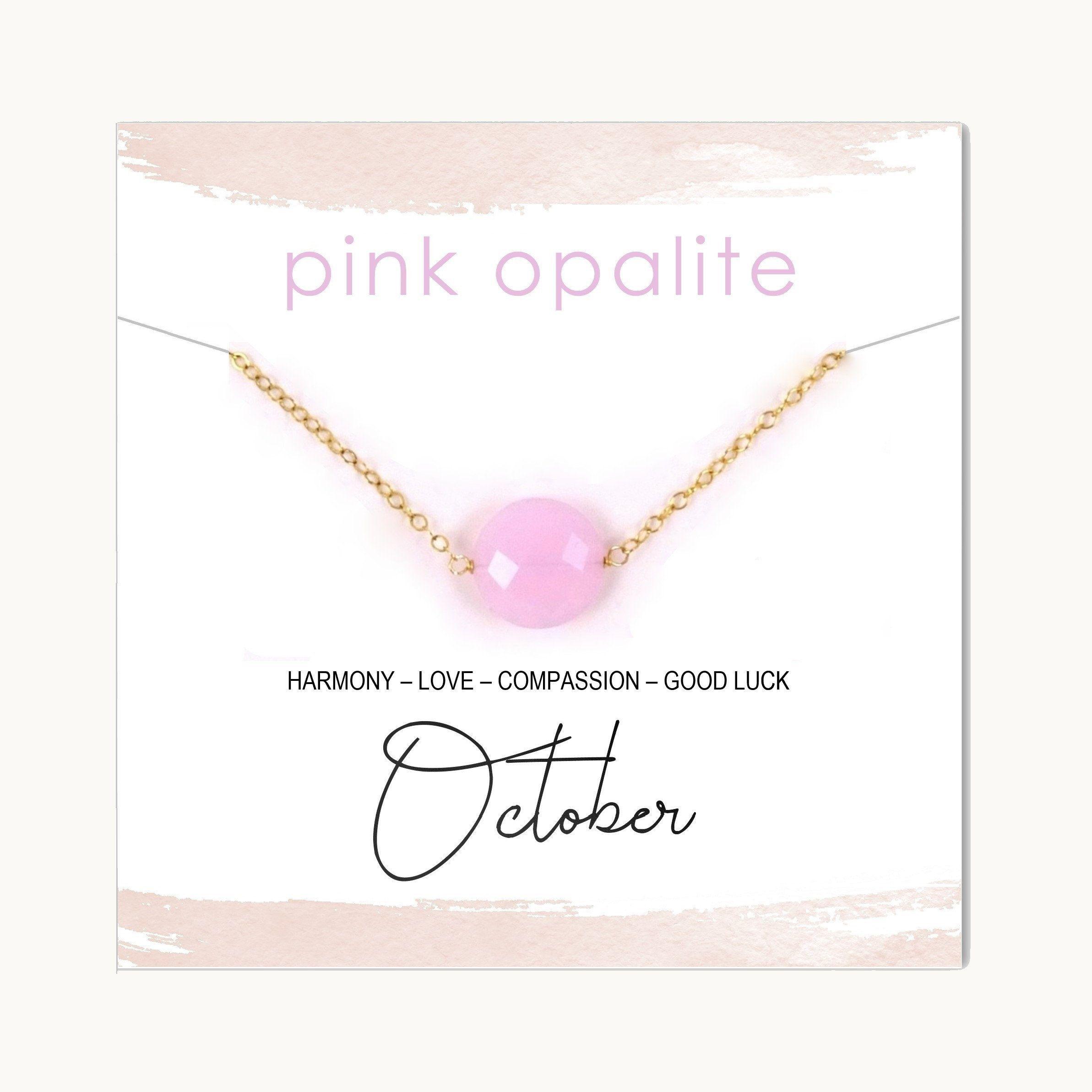 Pink Opalite Coin Gemstone Necklace / October Birthstone