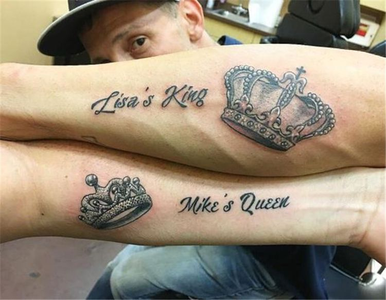 Perfect And Forever Couple Matching Tattoos For The Hopeless Romantics Couple Tattoo Ideas Couple Tattoos Match Queen Tattoo Matching Tattoos Couple Tattoos