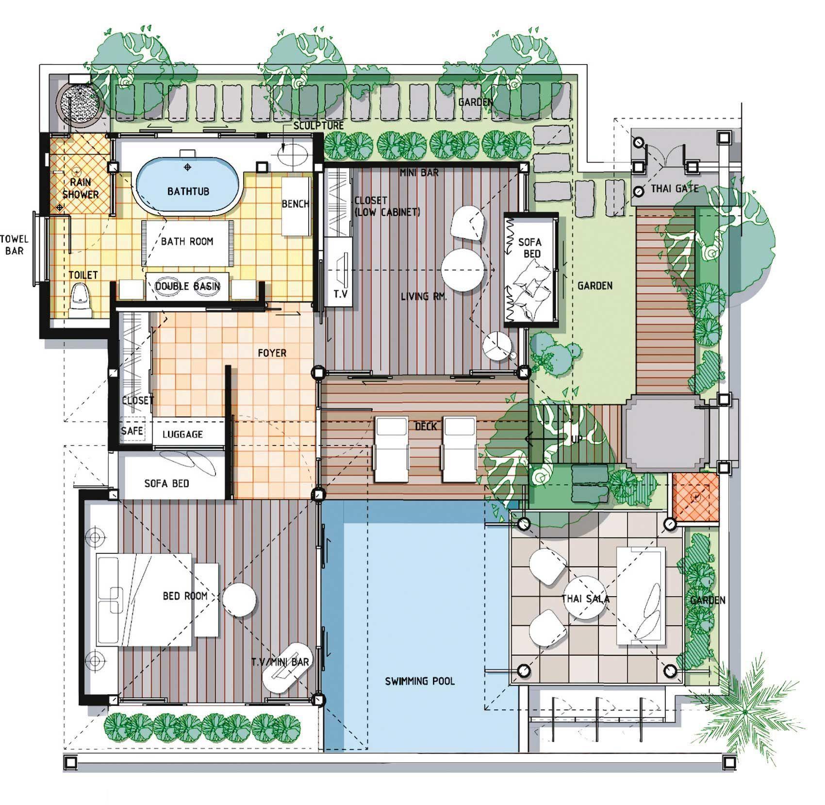 Koh Samui Honeymoon Villa Pool Villa Suite Melati Beach Resort Spa Floor Plans 5