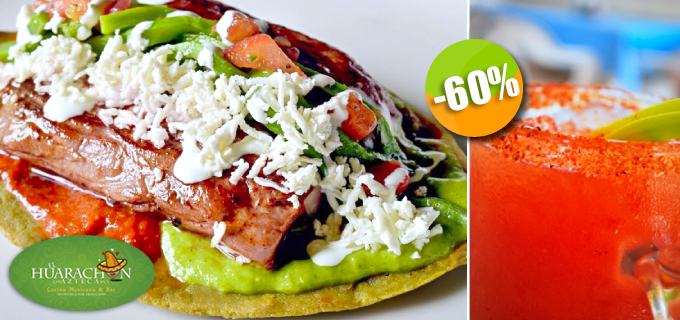 El Huarachón Azteca - $88 pesos instead of $220 for 2 Delicious Fish & Shrimp or Beef & Cactus Huaraches + 2 Cielo Rojo Beer Cocktails! Click http://ow.ly/u6nxX
