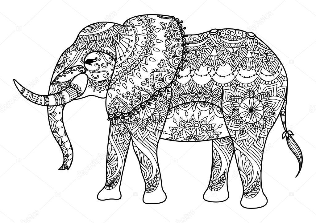 Descargar - Elefante de Mandala arte lineal — Ilustración de stock ...