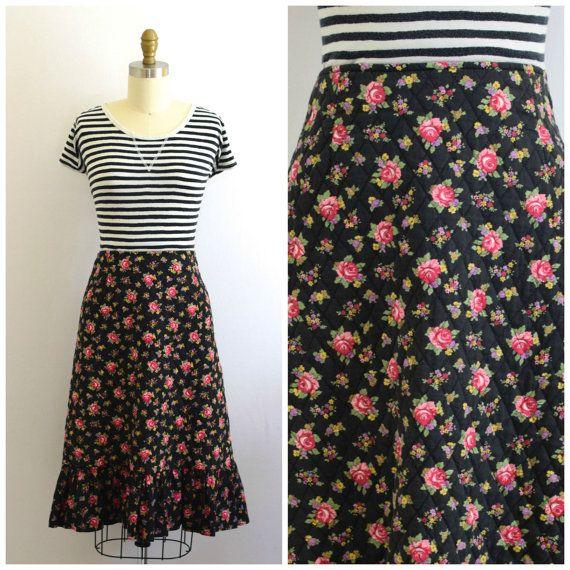70s skirt #70s Ditsy Floral Boho Skirt/ Quilted 70s Skirt/ Glen of Michigan Skirt/ Womens Size Small