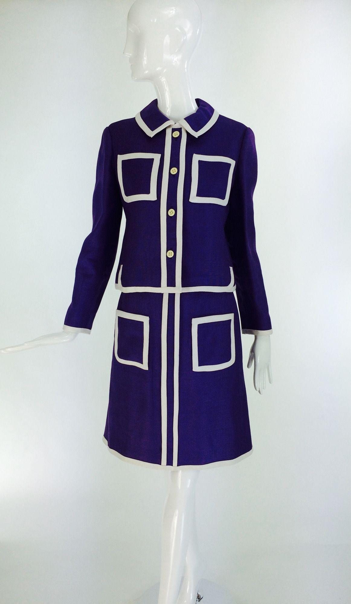 a7c13a2644264 Donald Brooks Mod 3 pc. skirt set in purple linen 1960s | 1960s ...
